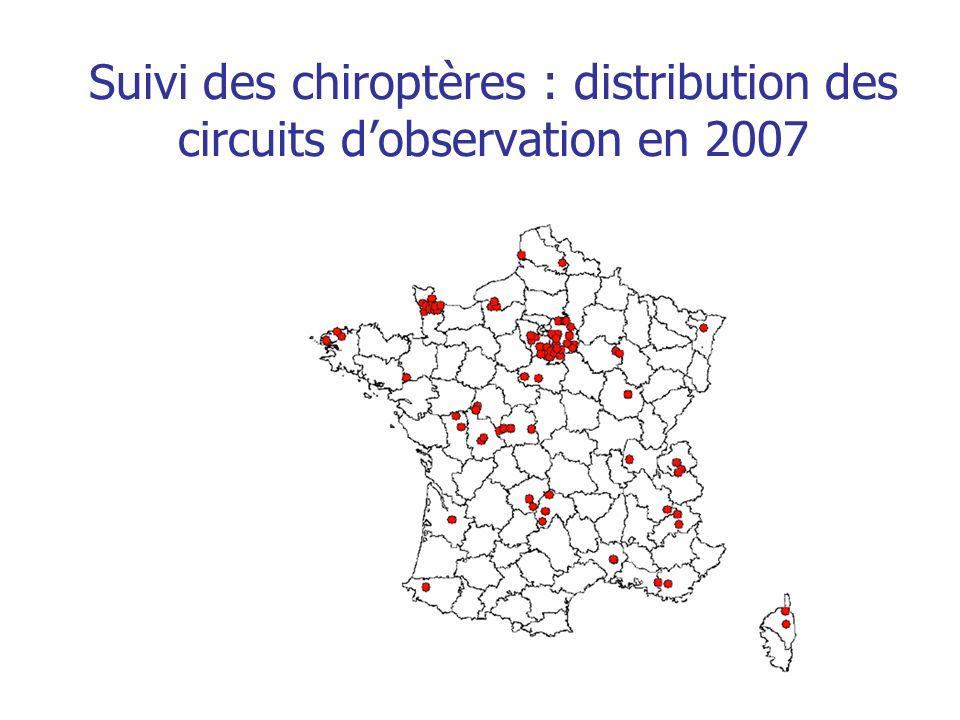 Suivi des chiroptères : distribution des circuits d'observation en 2007