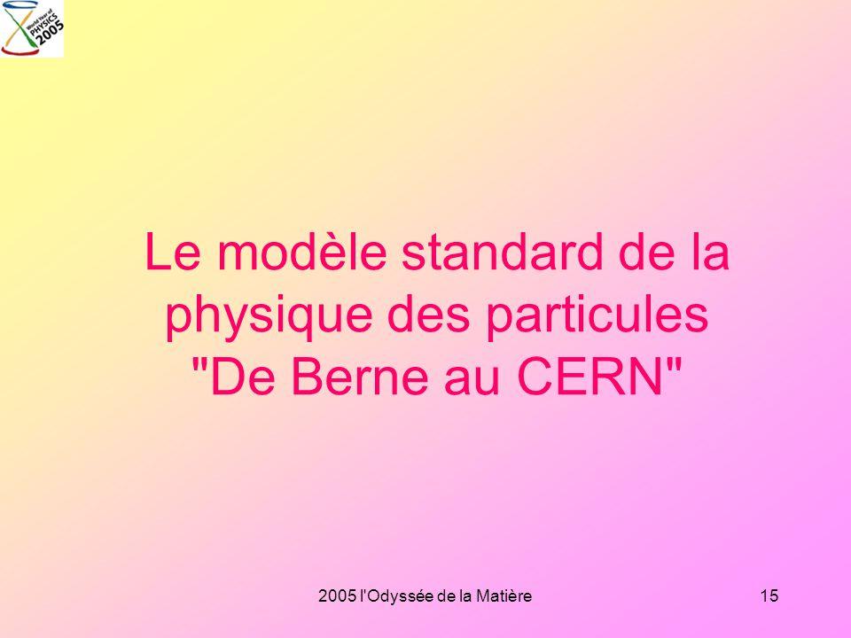 Le modèle standard de la physique des particules De Berne au CERN
