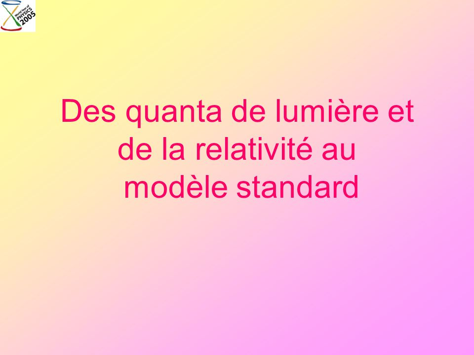 Des quanta de lumière et de la relativité au modèle standard