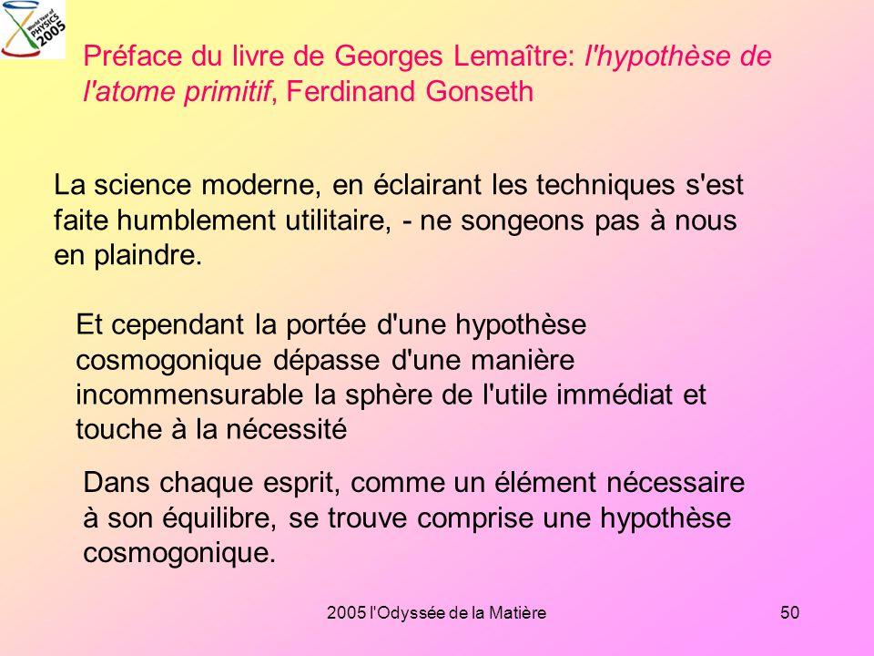Préface du livre de Georges Lemaître: l hypothèse de l atome primitif, Ferdinand Gonseth