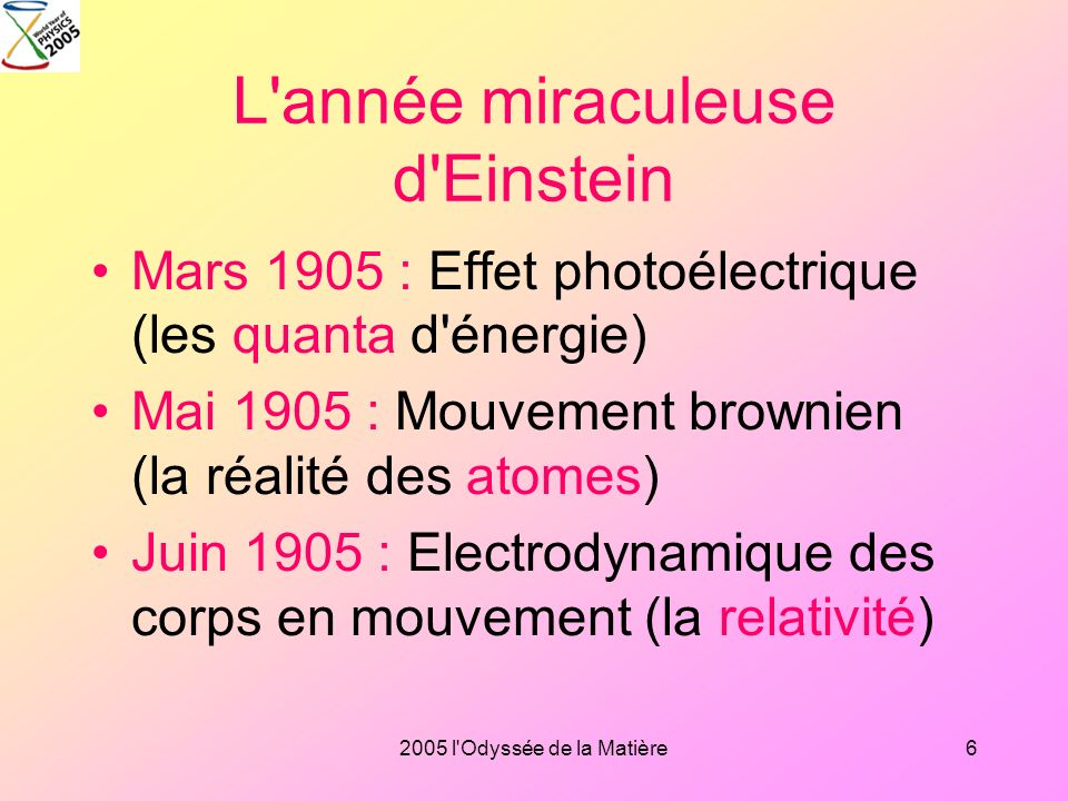 L année miraculeuse d Einstein