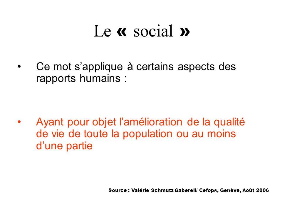 Le « social » Ce mot s'applique à certains aspects des rapports humains :