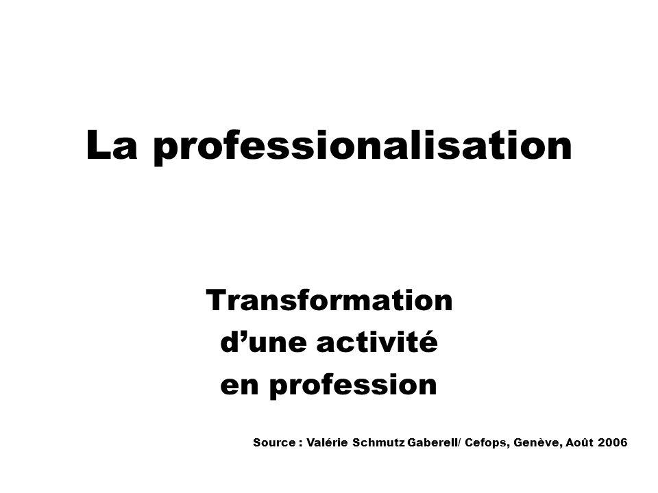La professionalisation