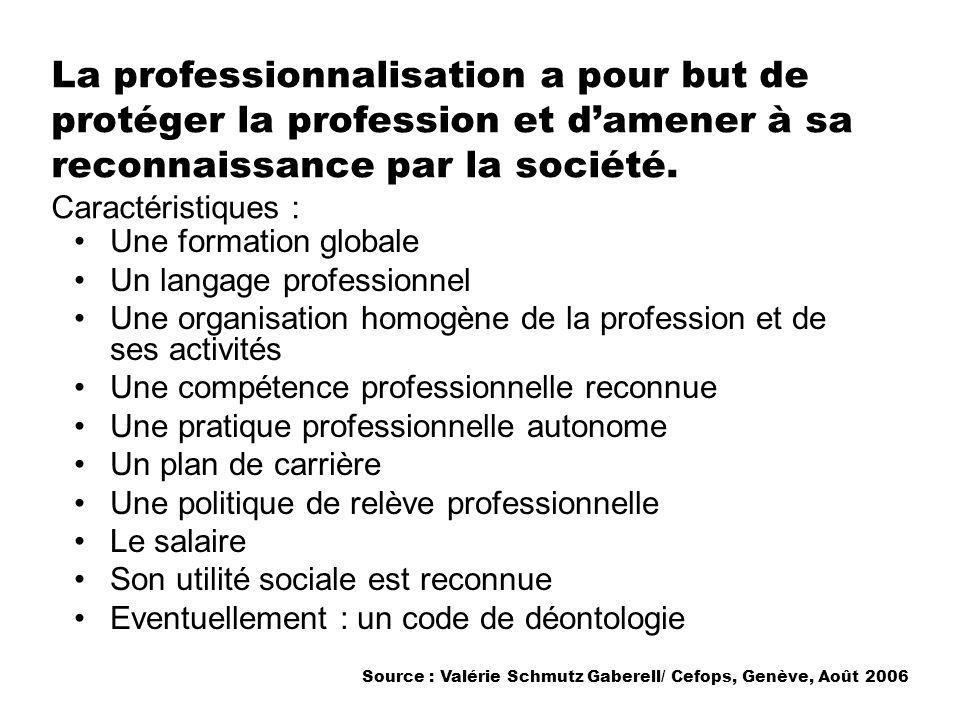 La professionnalisation a pour but de protéger la profession et d'amener à sa reconnaissance par la société. Caractéristiques :