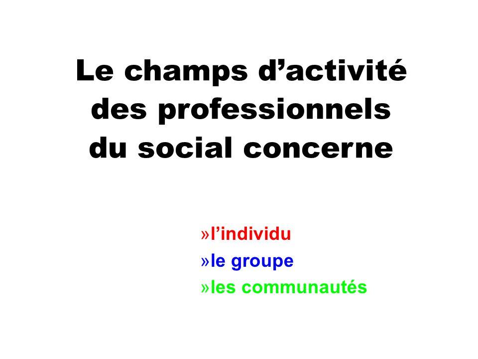 Le champs d'activité des professionnels du social concerne l'individu