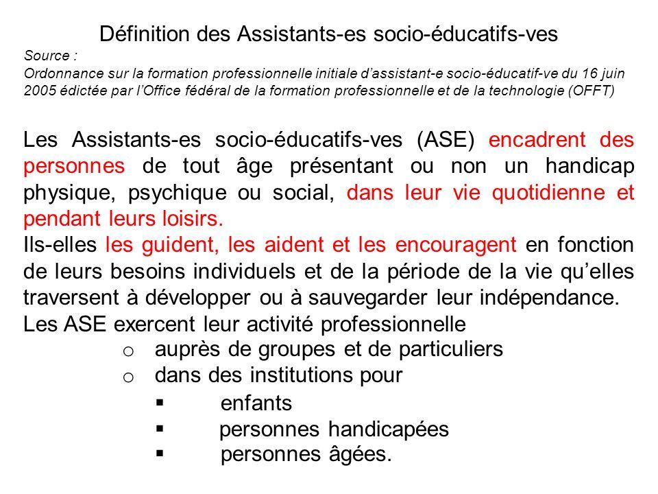 Définition des Assistants-es socio-éducatifs-ves