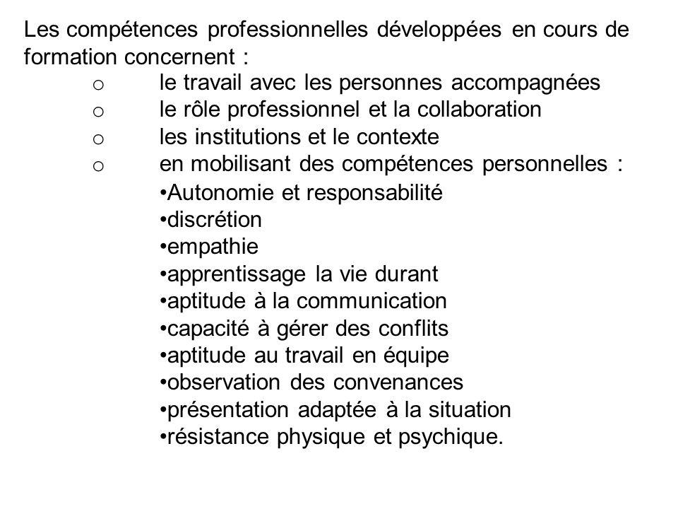 Les compétences professionnelles développées en cours de formation concernent :