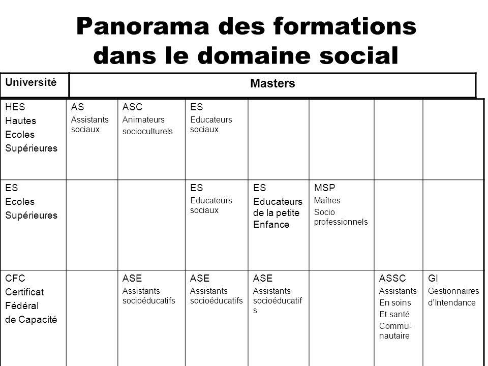 Panorama des formations dans le domaine social