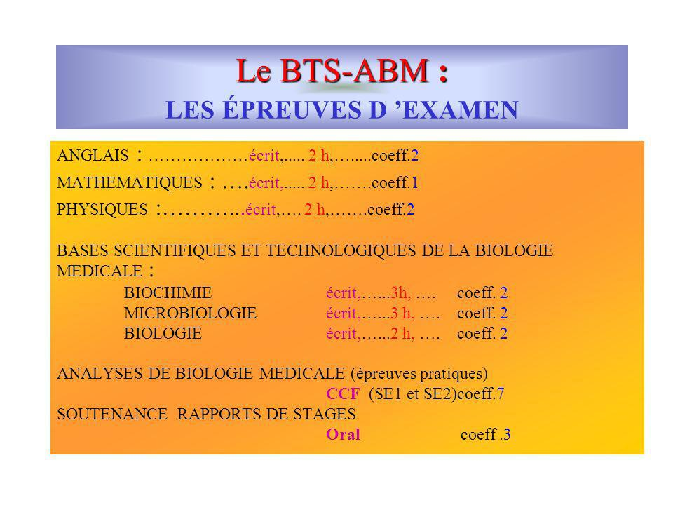Le BTS-ABM : LES ÉPREUVES D 'EXAMEN