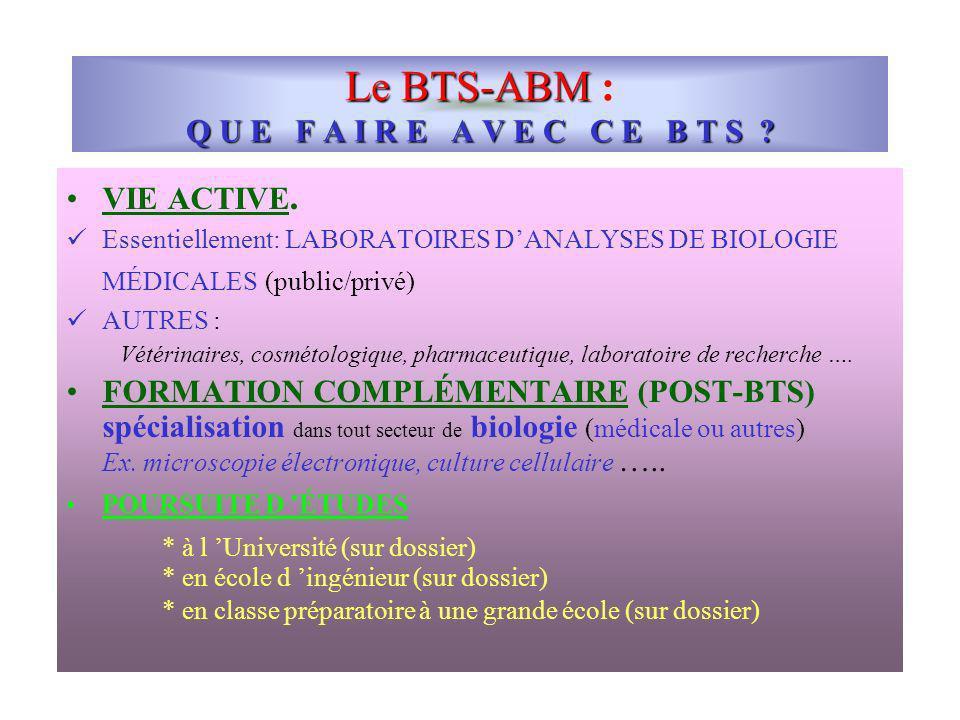 Le BTS-ABM : Q U E F A I R E A V E C C E B T S