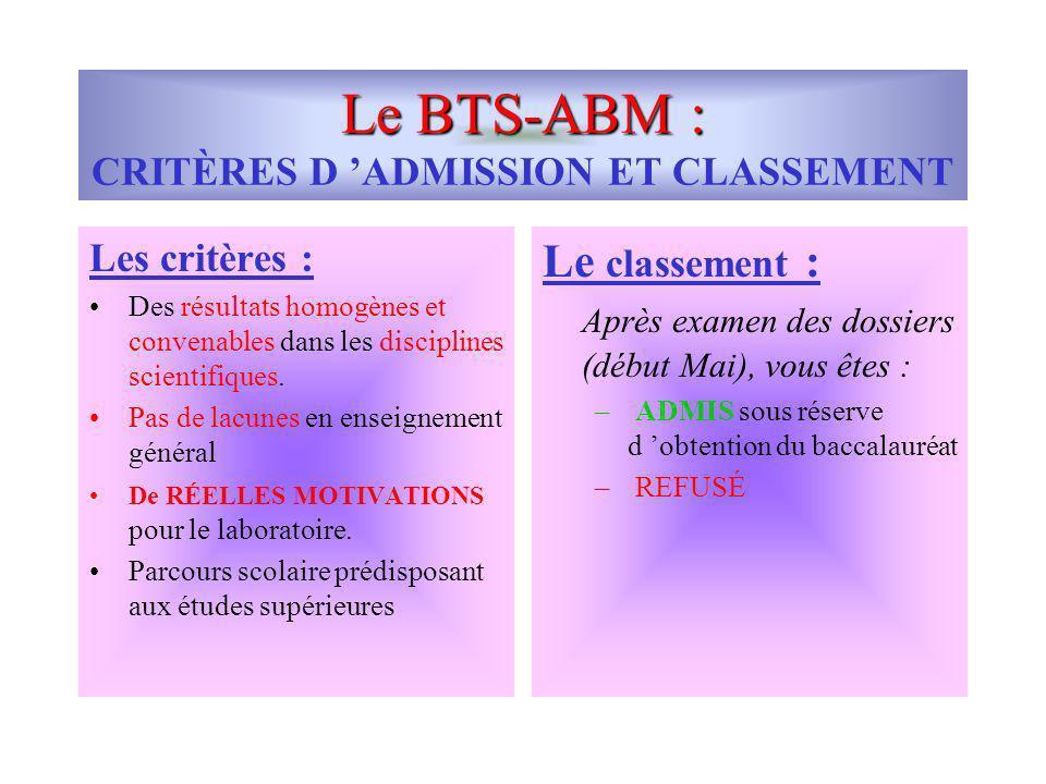 Le BTS-ABM : CRITÈRES D 'ADMISSION ET CLASSEMENT