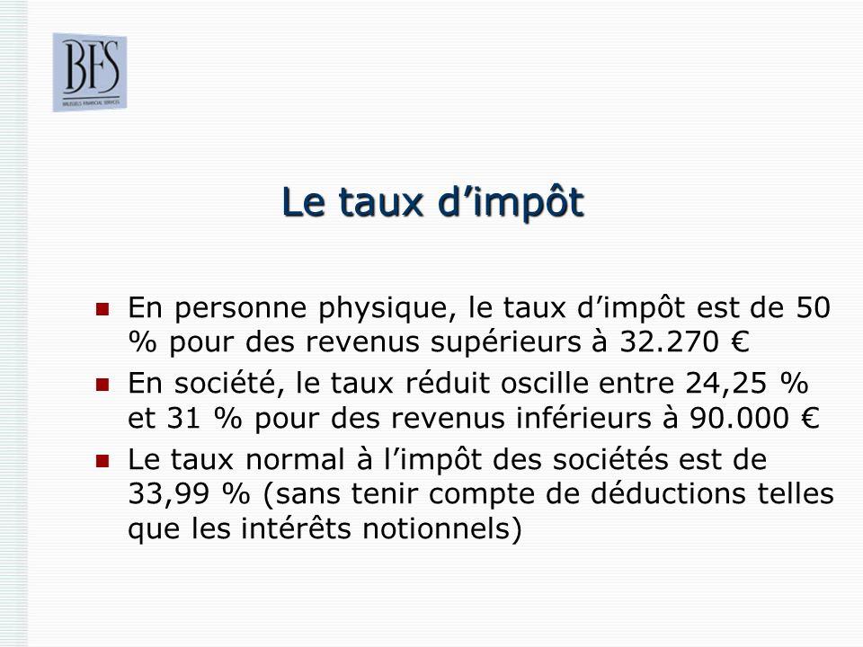 Le taux d'impôt En personne physique, le taux d'impôt est de 50 % pour des revenus supérieurs à 32.270 €