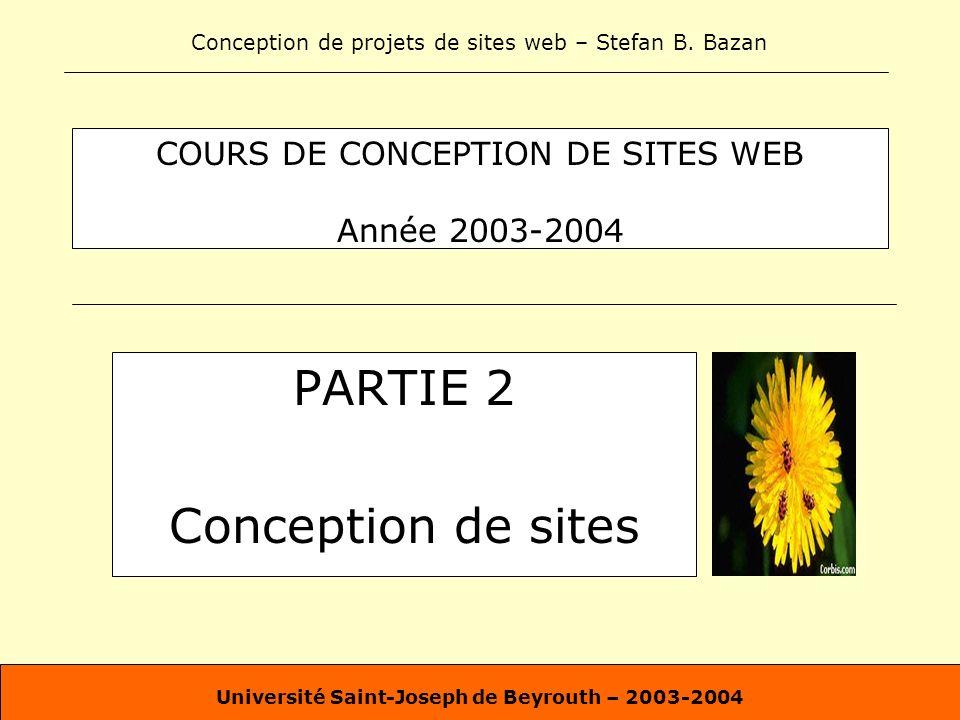 COURS DE CONCEPTION DE SITES WEB Année 2003-2004