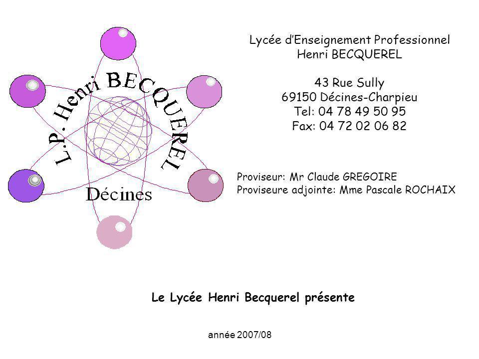 Le Lycée Henri Becquerel présente