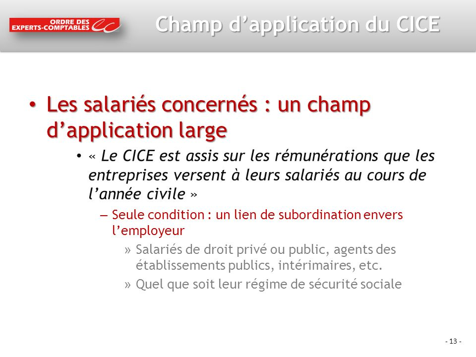 Champ d'application du CICE