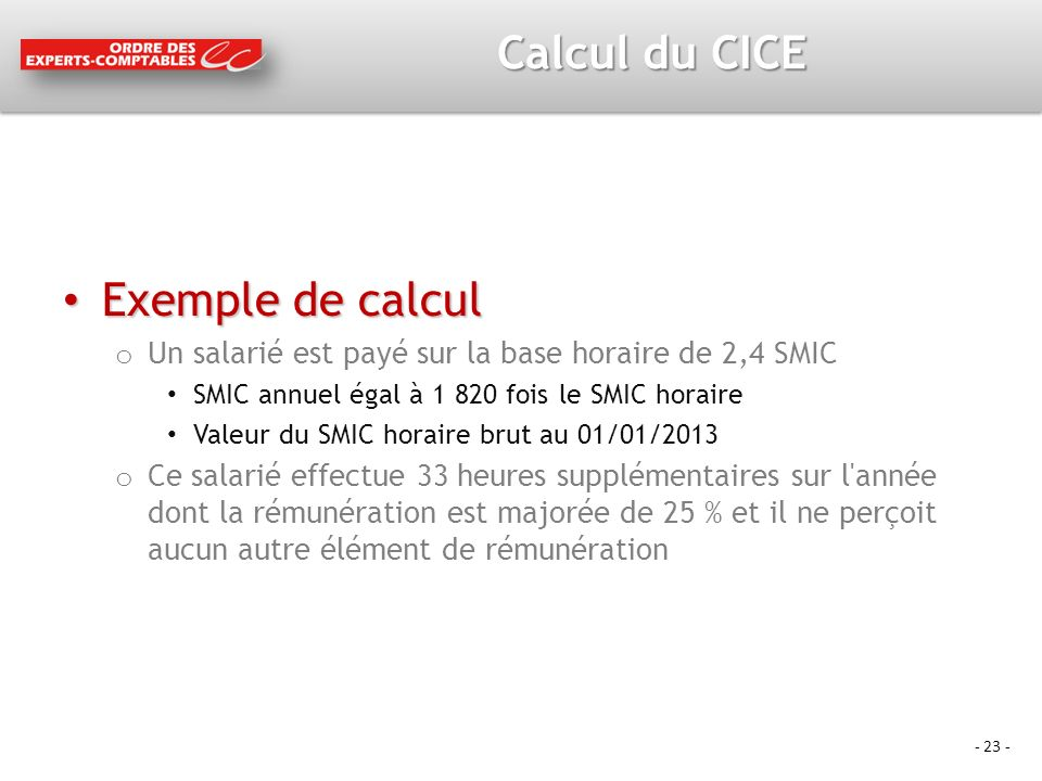 Calcul du CICE Exemple de calcul