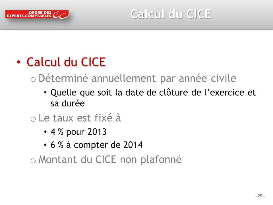 Calcul du CICE Calcul du CICE Déterminé annuellement par année civile