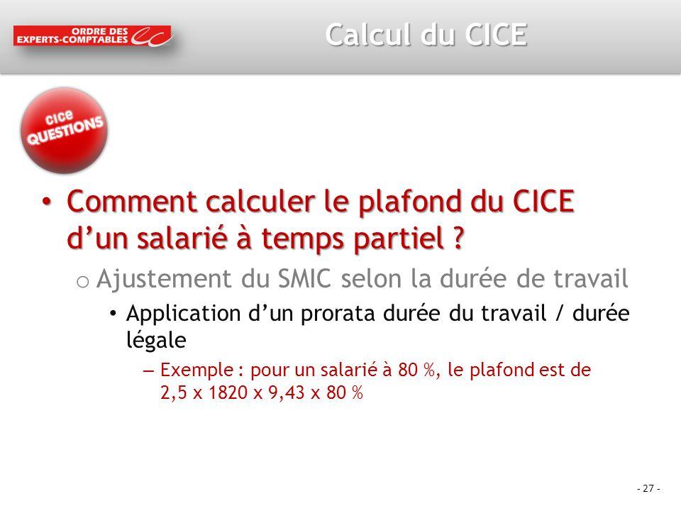 Comment calculer le plafond du CICE d'un salarié à temps partiel