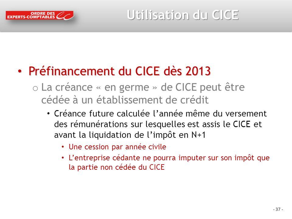 Utilisation du CICE Préfinancement du CICE dès 2013