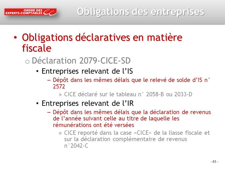 Obligations des entreprises