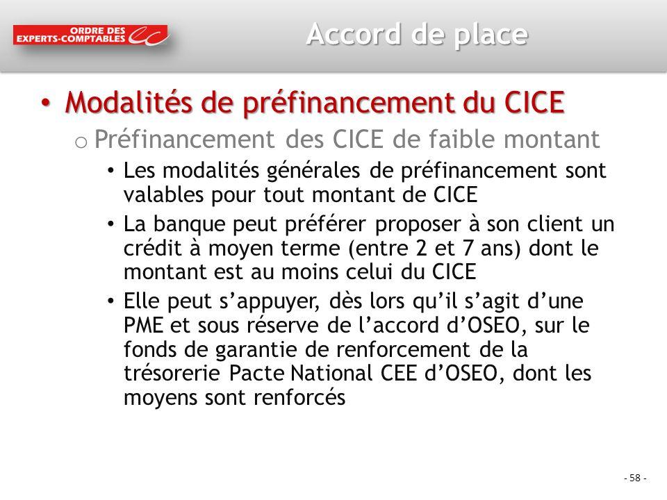 Modalités de préfinancement du CICE