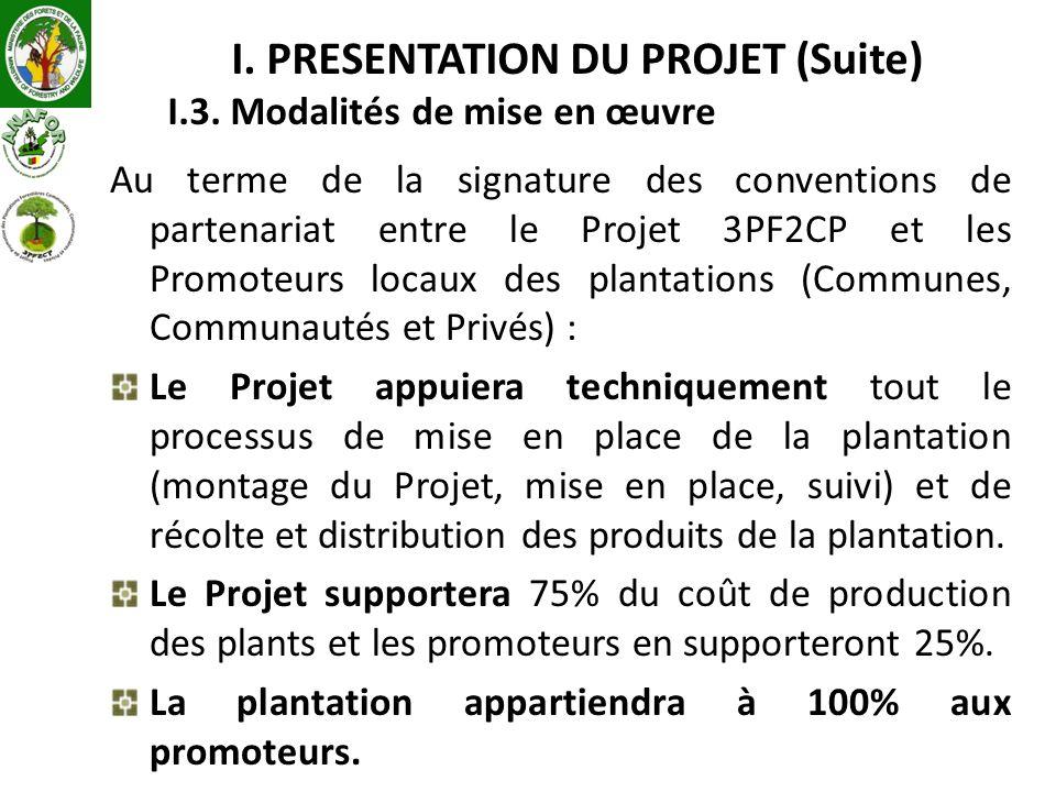 I. PRESENTATION DU PROJET (Suite) I.3. Modalités de mise en œuvre