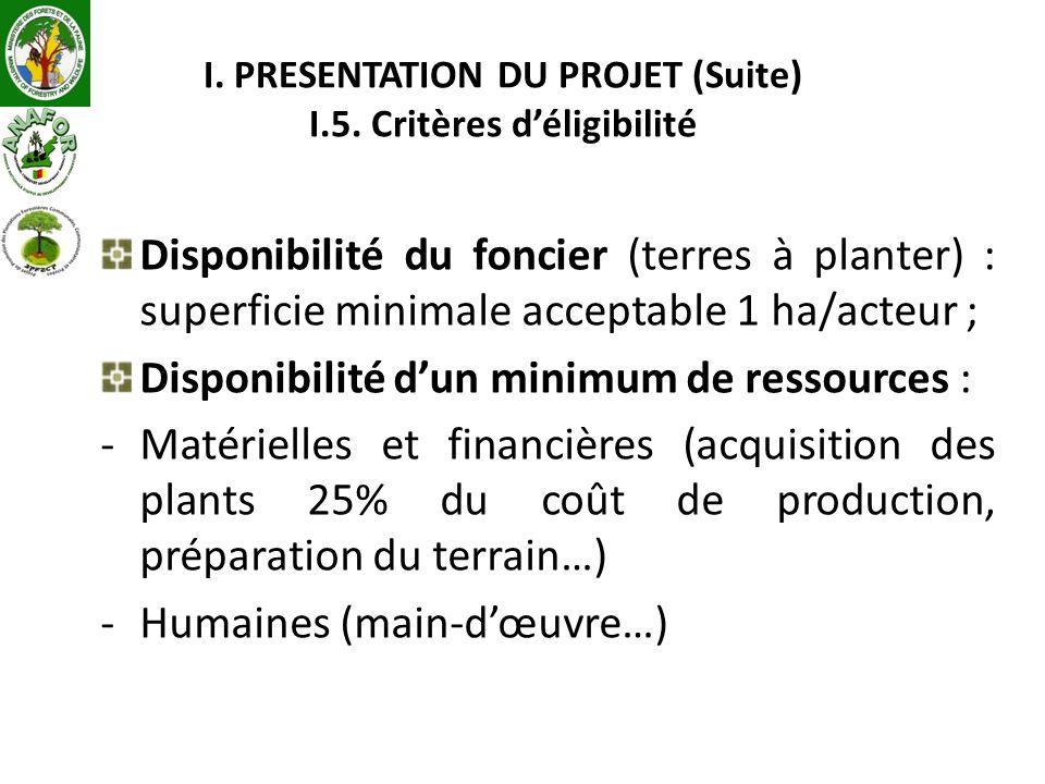 I. PRESENTATION DU PROJET (Suite) I.5. Critères d'éligibilité