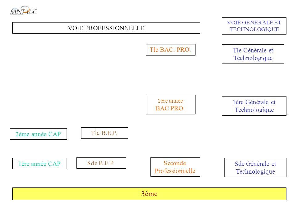 3ème VOIE PROFESSIONNELLE Tle BAC. PRO. Tle Générale et Technologique