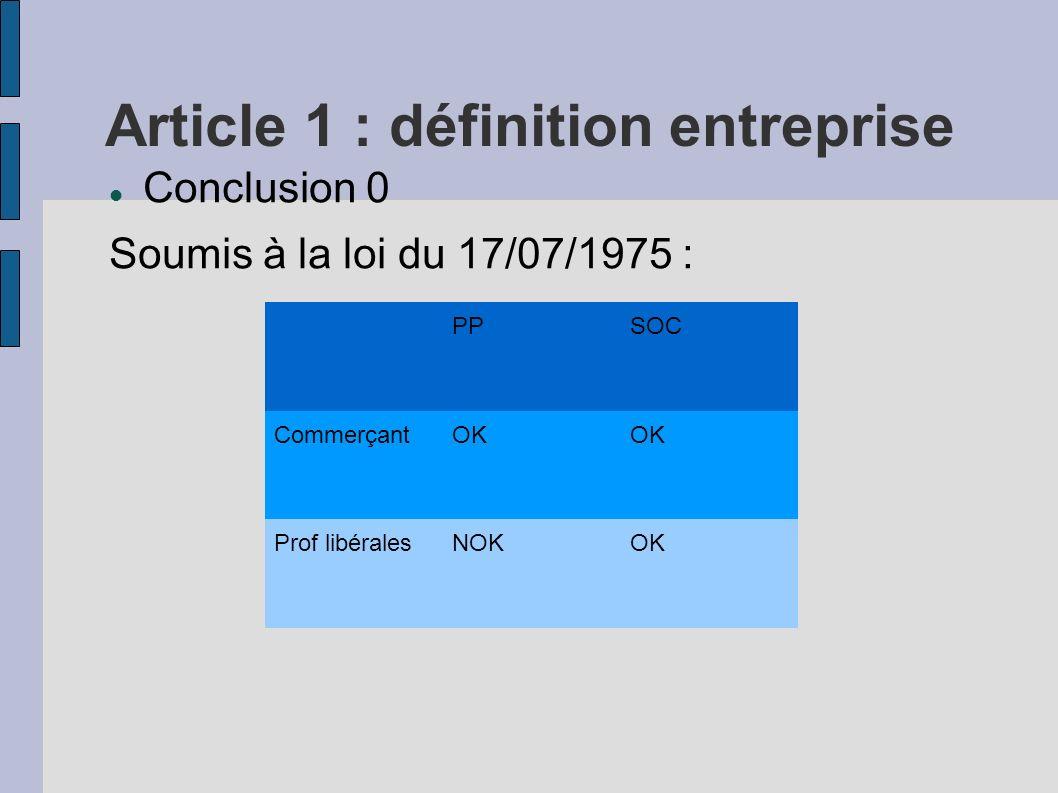 Article 1 : définition entreprise