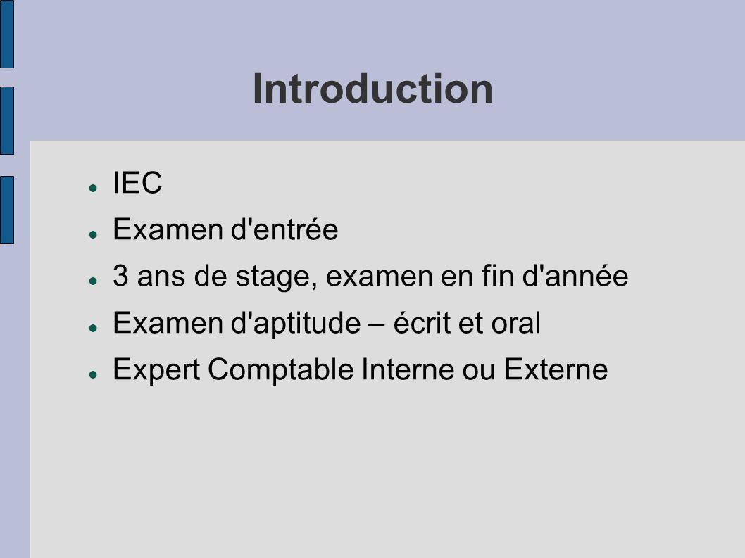 Introduction IEC Examen d entrée 3 ans de stage, examen en fin d année