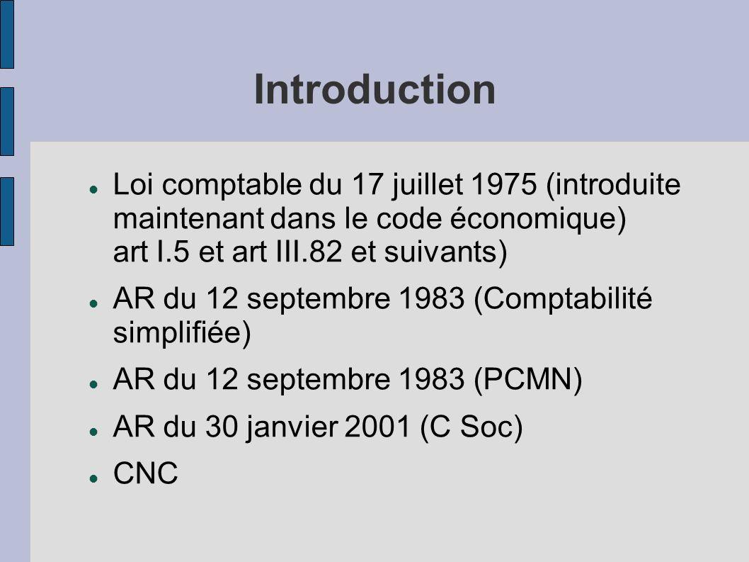 Introduction Loi comptable du 17 juillet 1975 (introduite maintenant dans le code économique) art I.5 et art III.82 et suivants)