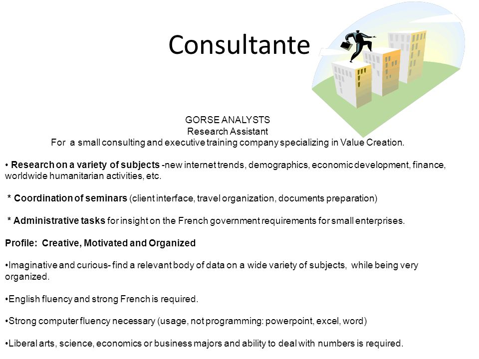 Consultante GORSE ANALYSTS Research Assistant