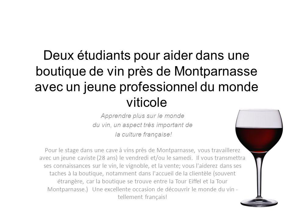 Deux étudiants pour aider dans une boutique de vin près de Montparnasse avec un jeune professionnel du monde viticole