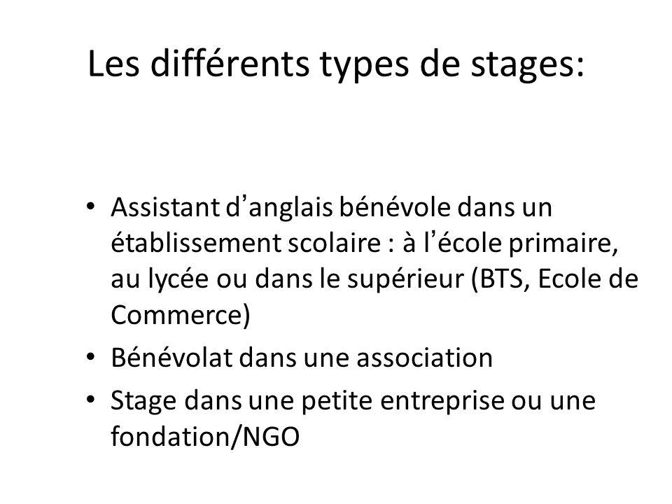 Les différents types de stages: