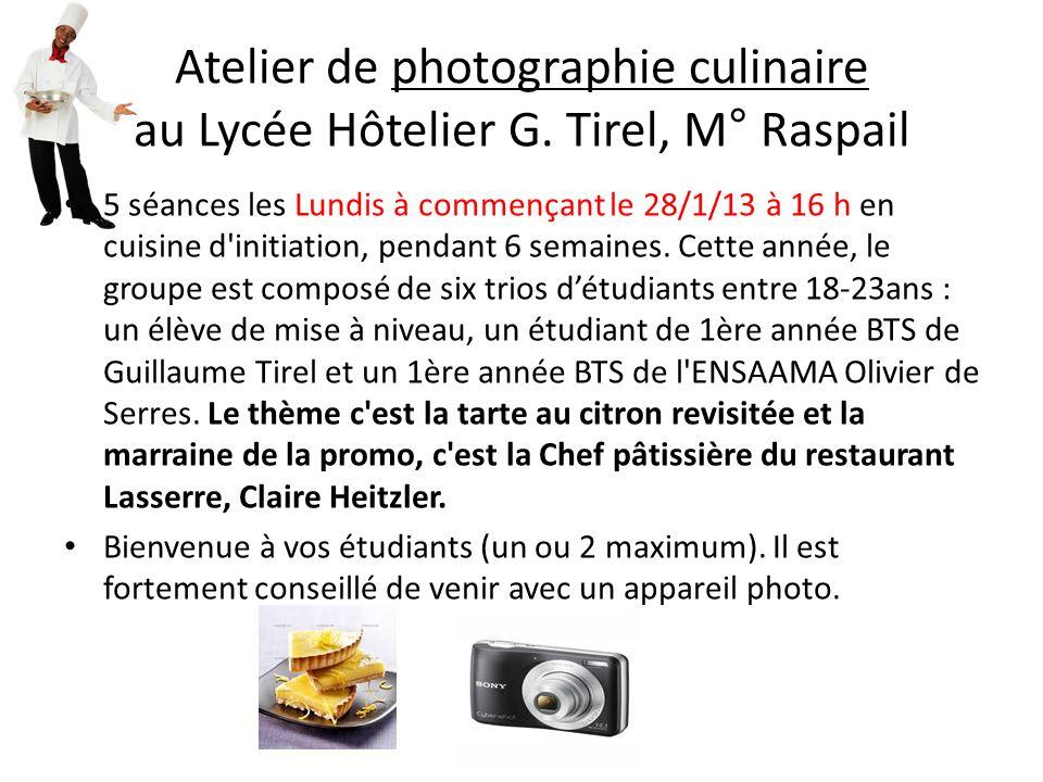 Atelier de photographie culinaire au Lycée Hôtelier G