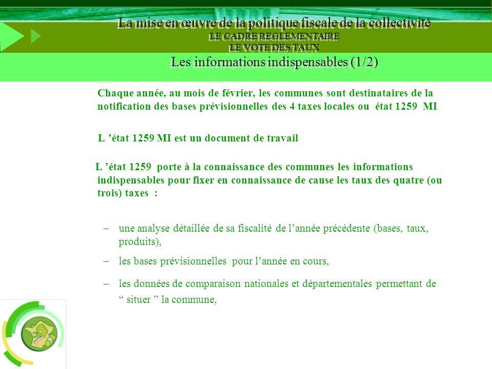 LE VOTE DES TAUX Les informations indispensables (1/2)