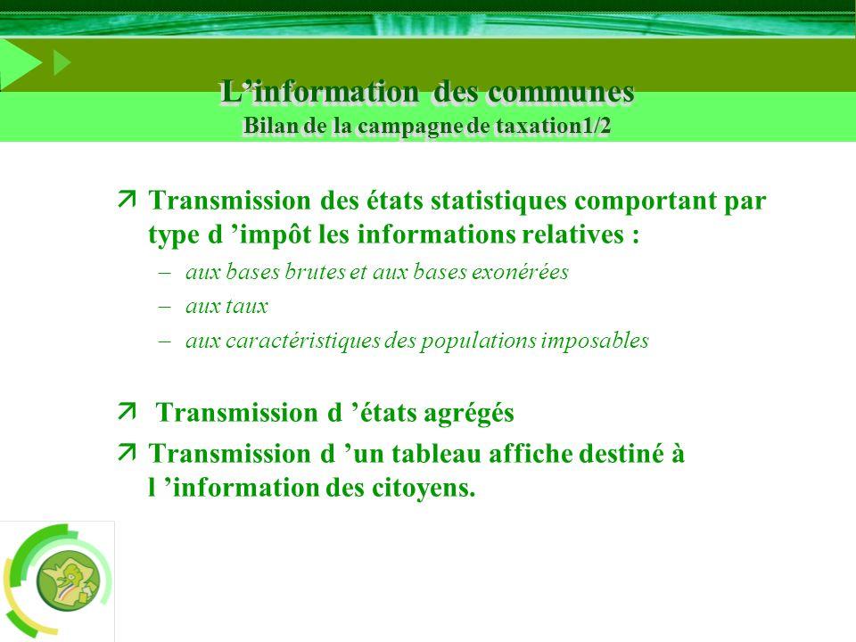 L'information des communes Bilan de la campagne de taxation1/2