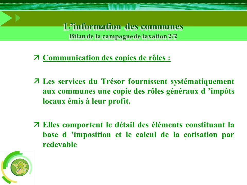 L'information des communes Bilan de la campagne de taxation 2/2