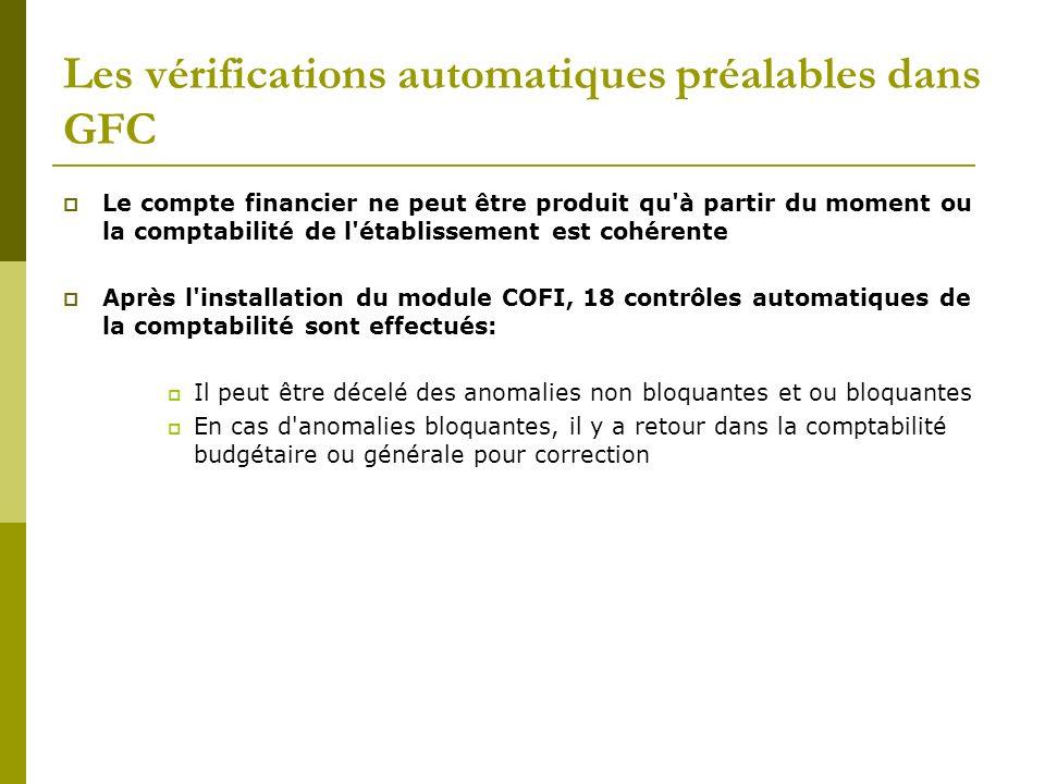 Les vérifications automatiques préalables dans GFC