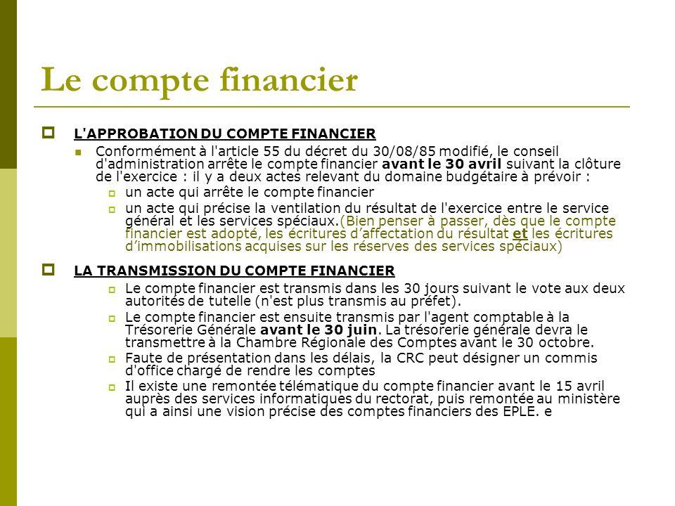 Le compte financier L APPROBATION DU COMPTE FINANCIER