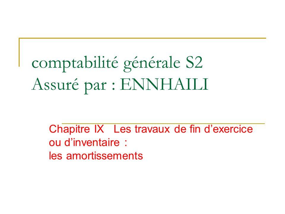 comptabilité générale S2 Assuré par : ENNHAILI