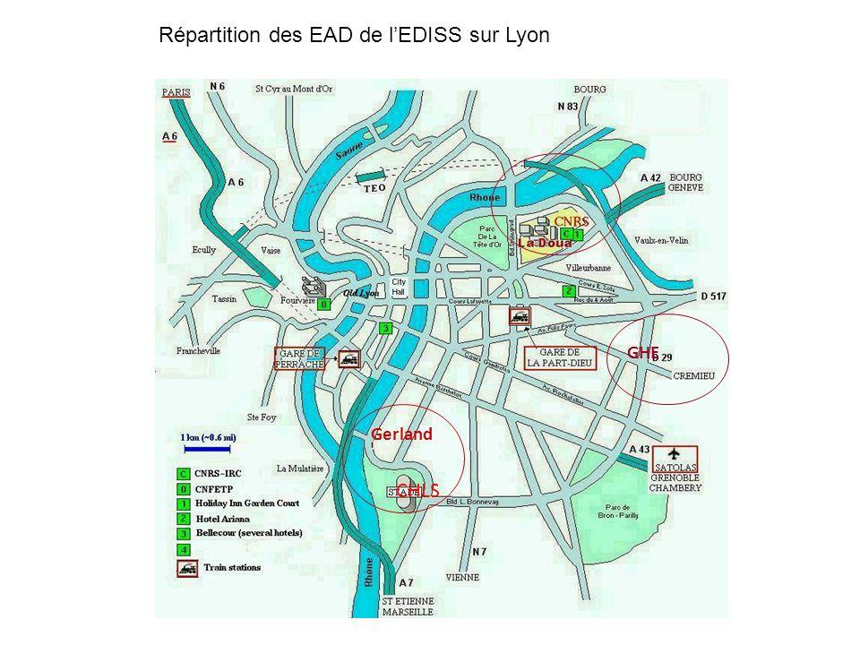 Répartition des EAD de l'EDISS sur Lyon