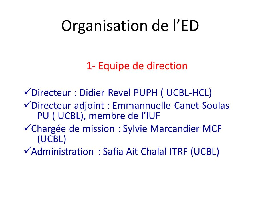 Organisation de l'ED 1- Equipe de direction