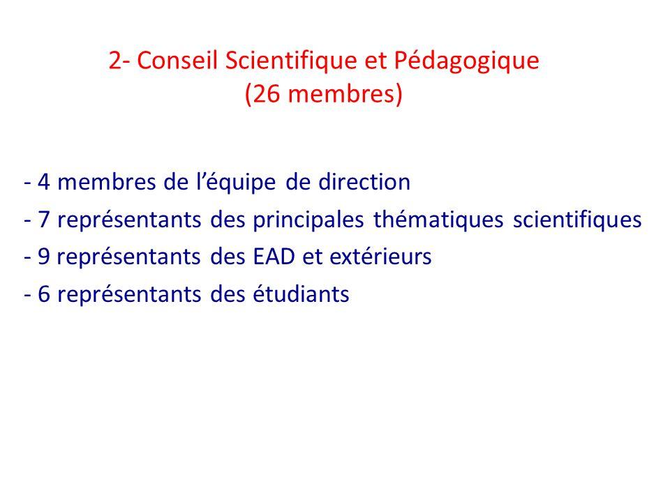 2- Conseil Scientifique et Pédagogique (26 membres)