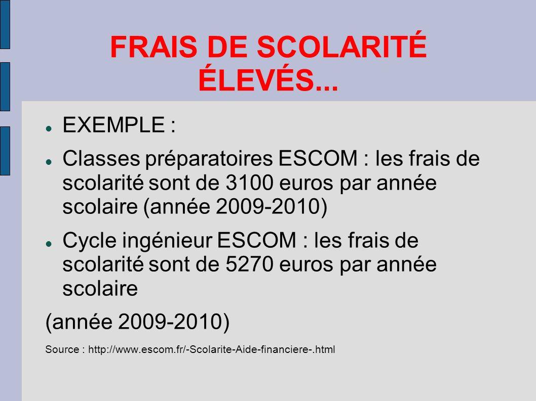 FRAIS DE SCOLARITÉ ÉLEVÉS...