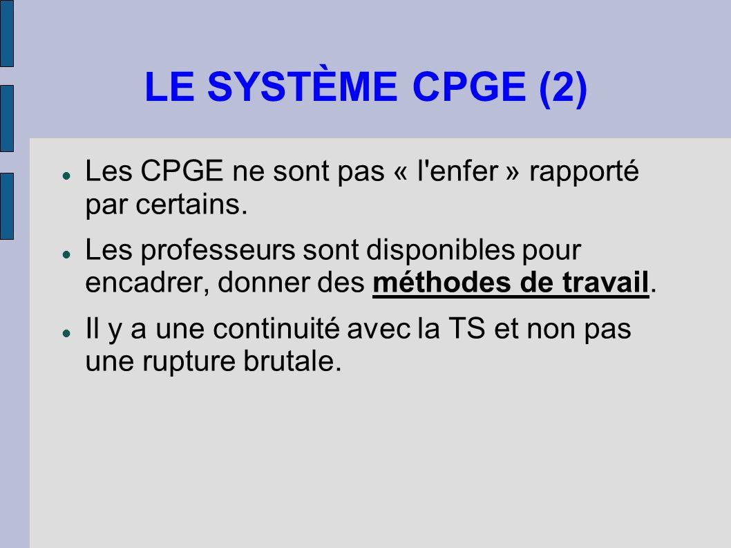 LE SYSTÈME CPGE (2) Les CPGE ne sont pas « l enfer » rapporté par certains.