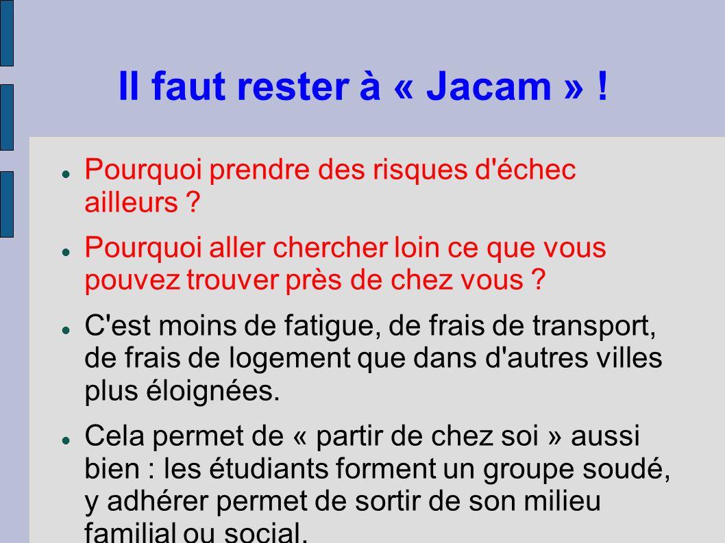 Il faut rester à « Jacam » !