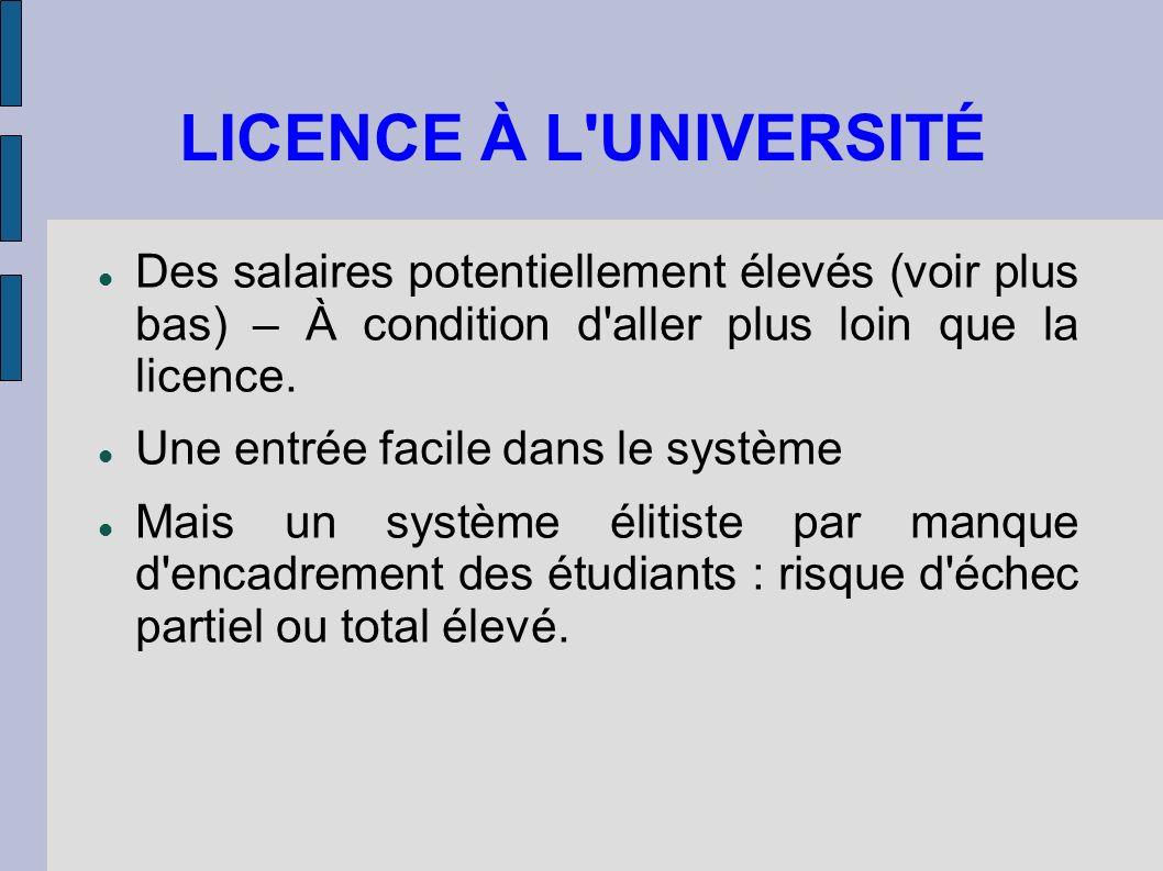 LICENCE À L UNIVERSITÉ Des salaires potentiellement élevés (voir plus bas) – À condition d aller plus loin que la licence.
