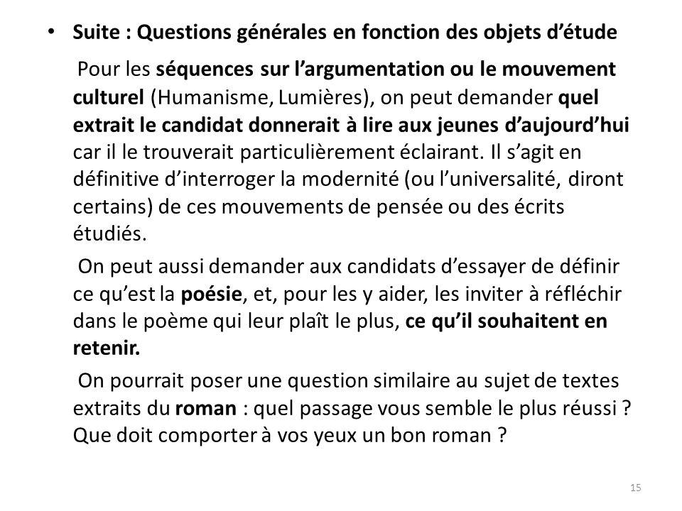 Suite : Questions générales en fonction des objets d'étude