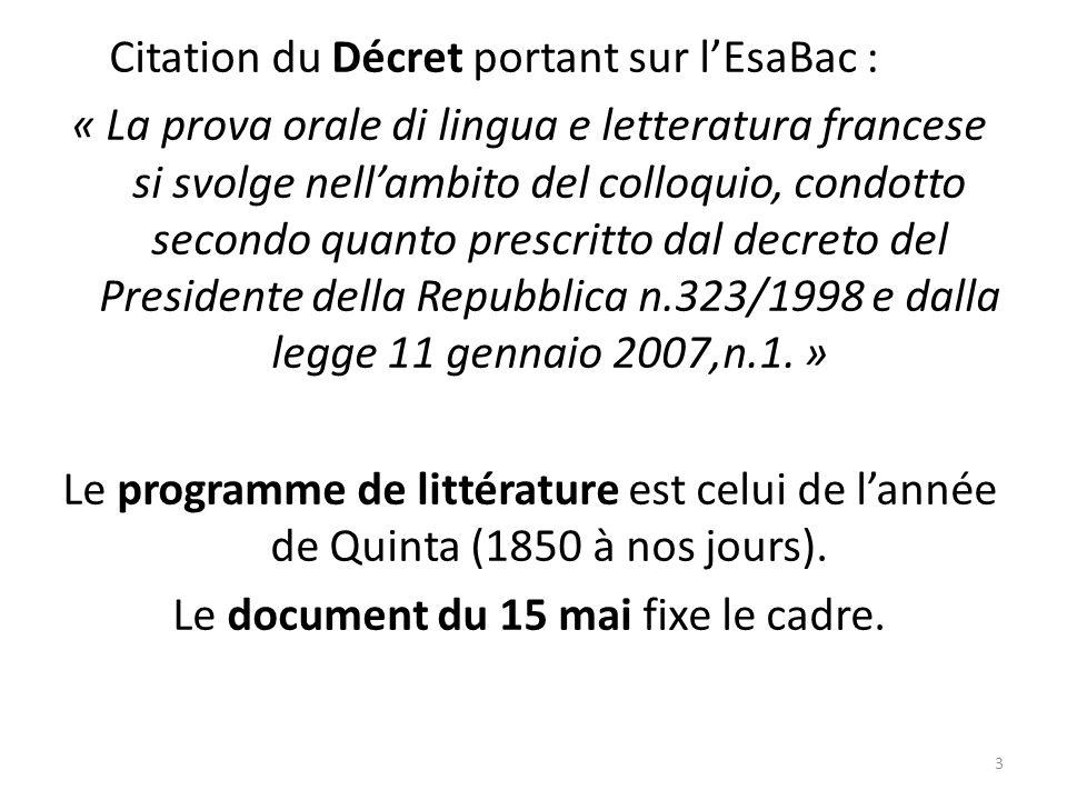 Citation du Décret portant sur l'EsaBac : « La prova orale di lingua e letteratura francese si svolge nell'ambito del colloquio, condotto secondo quanto prescritto dal decreto del Presidente della Repubblica n.323/1998 e dalla legge 11 gennaio 2007,n.1.
